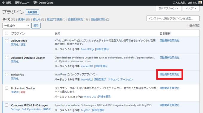 プラグインの自動更新を無効化
