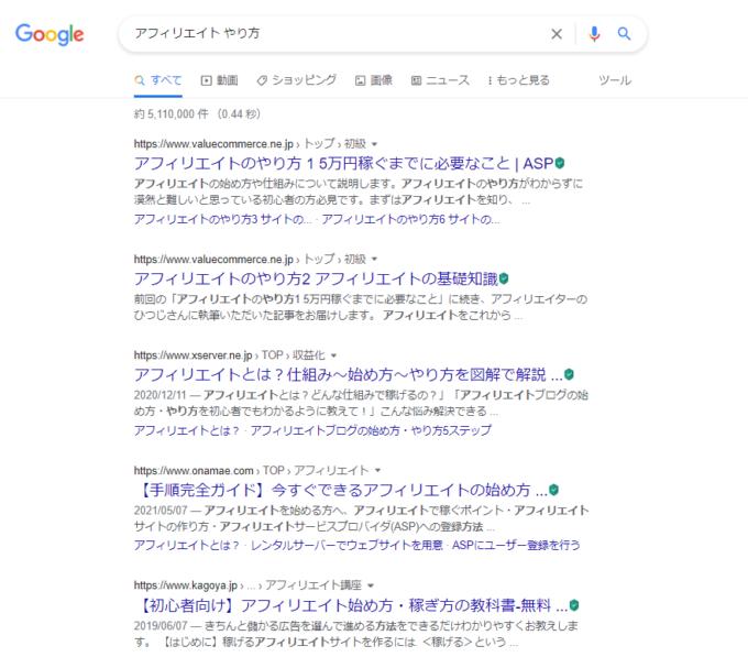 「アフィリエイト やり方」の検索結果